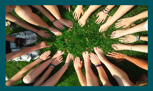 Birds eye view photo of many arms and hands in a circle reaching at the grass and ground